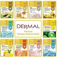DERMAL 10 Combo Pack Premium Collagen Essence Full Face Facial Mask Sheet, The Ultimate...