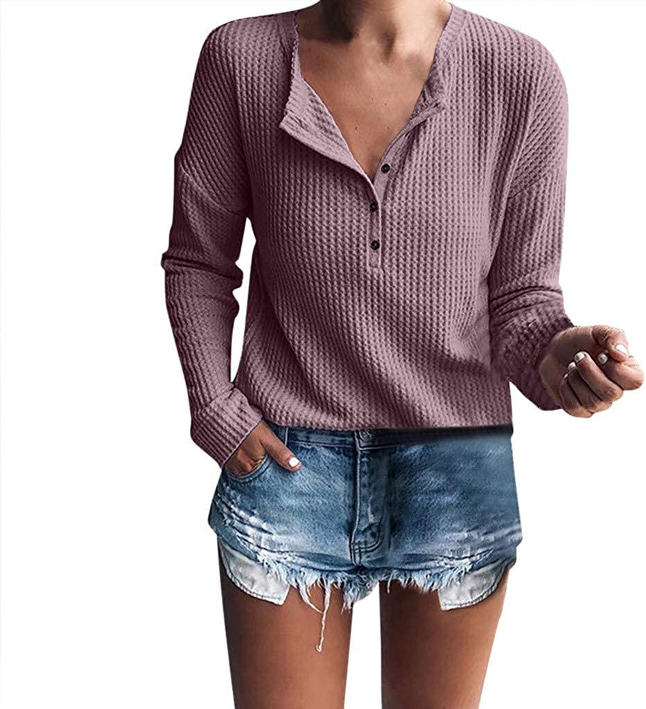 Pandaie Sweaters for Women Casual Long Sleeve V-Neck Henley Shirt Rib Knit Blouse Button Tunic Tops Pullover