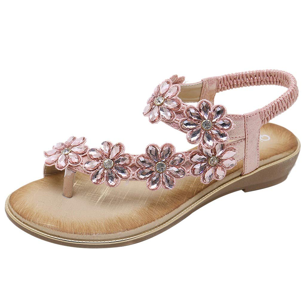 Benficial Women's Summer Casual Fashion Rhinestone Comfort Flat Flower Sandals Shoes Pink