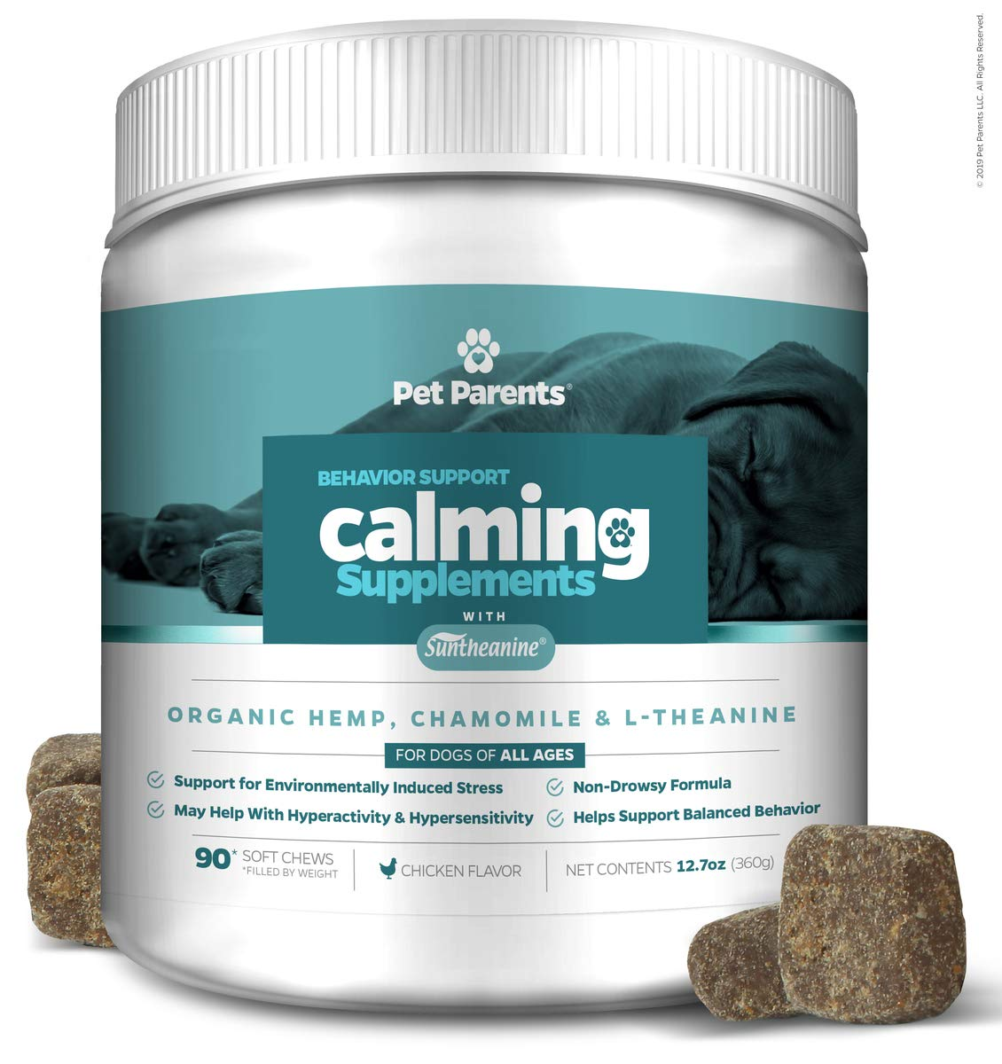 Pet Parents USA Dog Calming Treats 4g 90c + Anxiety Relief for Dogs - Organic Hemp for Dogs, Suntheanine + Nervous Dog, Pet Anxiety, Hyper Dog + Calming Treats for Dogs, Dog Anxiety Treats by Pet Parents