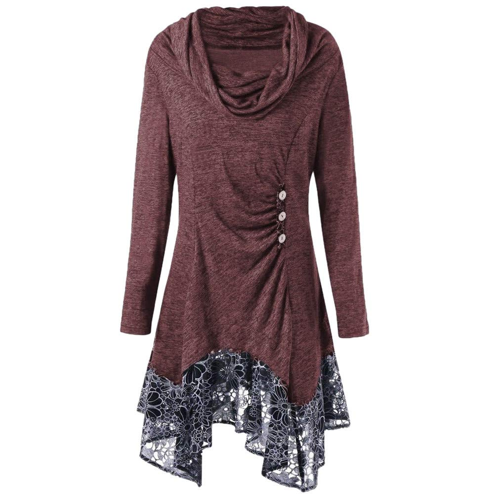 TIFENNY Women's Pullover Fashion Lace Patchwork Button Bow High Neck Long Sleeve Irregular Mini Dress