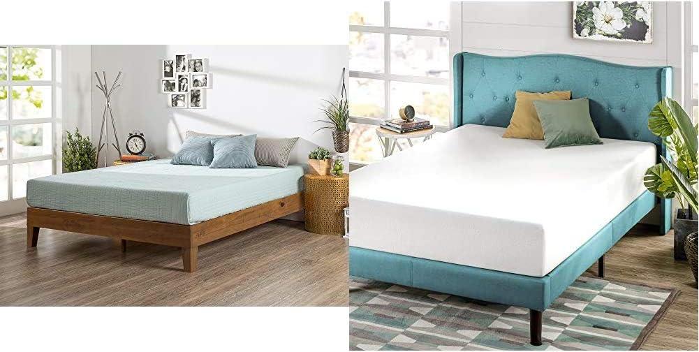Zinus Alexia 12-Inch Deluxe Wood Platform Bed in Rustic Pine Finish, Queen - No Boxspring Needed, Wood Slat Support & Green Tea 10-Inch Memory Foam Mattress, Queen
