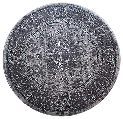 Bellagio Traditional Round Area Rug Design 401 Distressed Grey (5 Feet 3 Inch X 5 Feet 3 Inch) Round