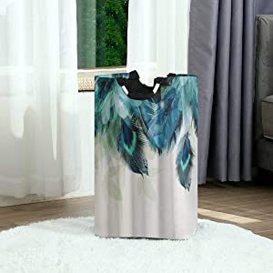 DAOPUDA Laundry Bag Peacock Feather Large Laundry Hamper Bags for Heavy-Duty Use with Strap,Standing Clothes Basket Collapsible for Dorm Travel Bathroom