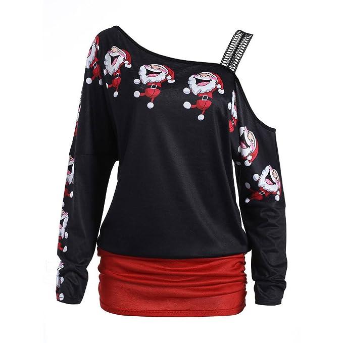 Mujer Camiseta de navidad sin hombros estampado papa noel, blusas plisado crepe de tirantes (