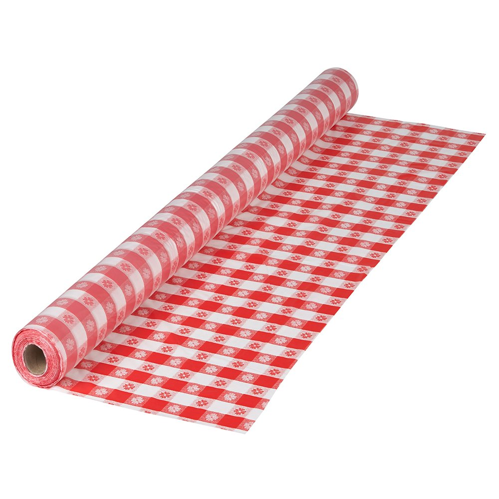 Hoffmaster 470-007 Plastic Disposable Tablecover Roll, Red Gingham
