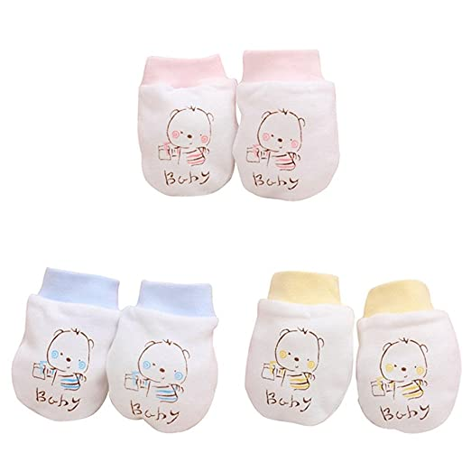 ee7924eeacda 2 Pairs Unisex Baby Infant Cotton Gloves No Scratch Mittens Soft ...