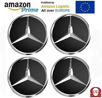 UG 4X Tapacubos de Repuesto para Coche de 75 mm Logo Mercedes Coppe Llantas aleación - Clase A B C E CLK GL M ML SLK: Amazon.es: Coche y moto