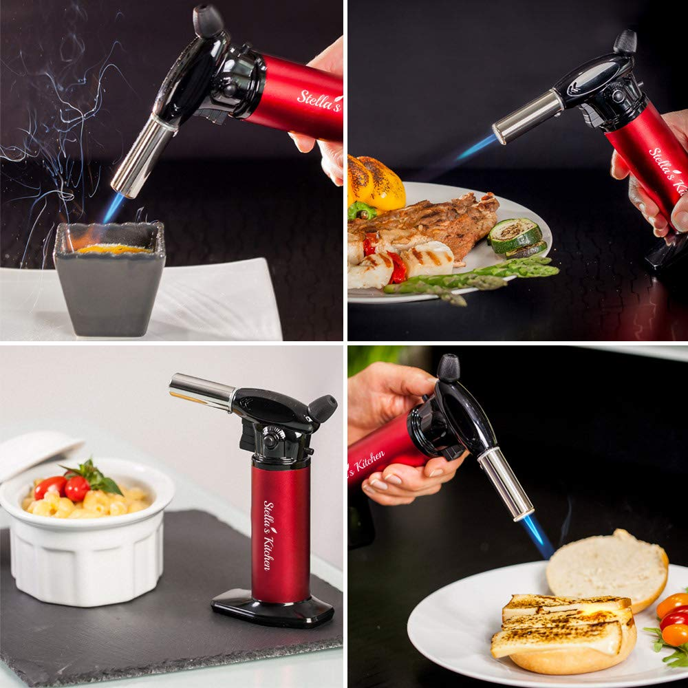 Culinary Torch for Creme Brulee 5 Pack-Culinary Torch-Refillable Butane Torch-Blow Torch-Cooking Torch - Butane Food Torch- Torch for Dabs with Fuel Gauge&Adjustable Flame-Chefs Torch- Butane Torch by Stella's Kitchen (Image #4)