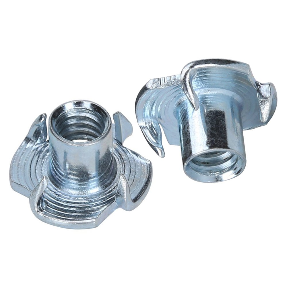 T-Nuts, World 9.99 Mall 1/4''-20 T-Nut Pronged Tee Nut for Wood, Climbing Hold, Cabinetry Carbon Steel and Zinc Plated Steel Material