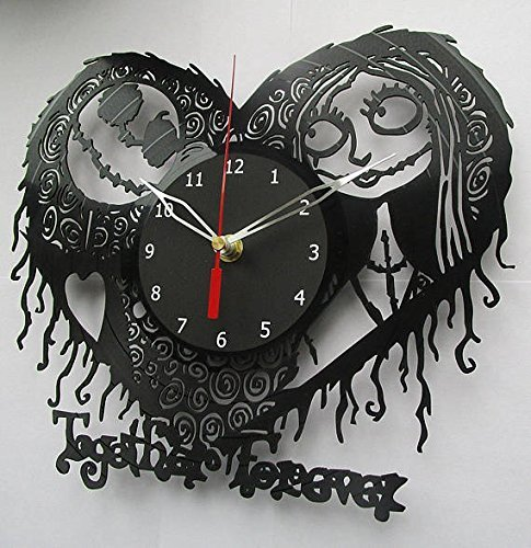 ForLovedGifts The Nightmare Before Christmas Lovestory Design Vinyl Wall Clock Handmade Gift for Any Occasion Unique Birthday, Wedding, Anniversary, Wall d cor Ideas for Any Space