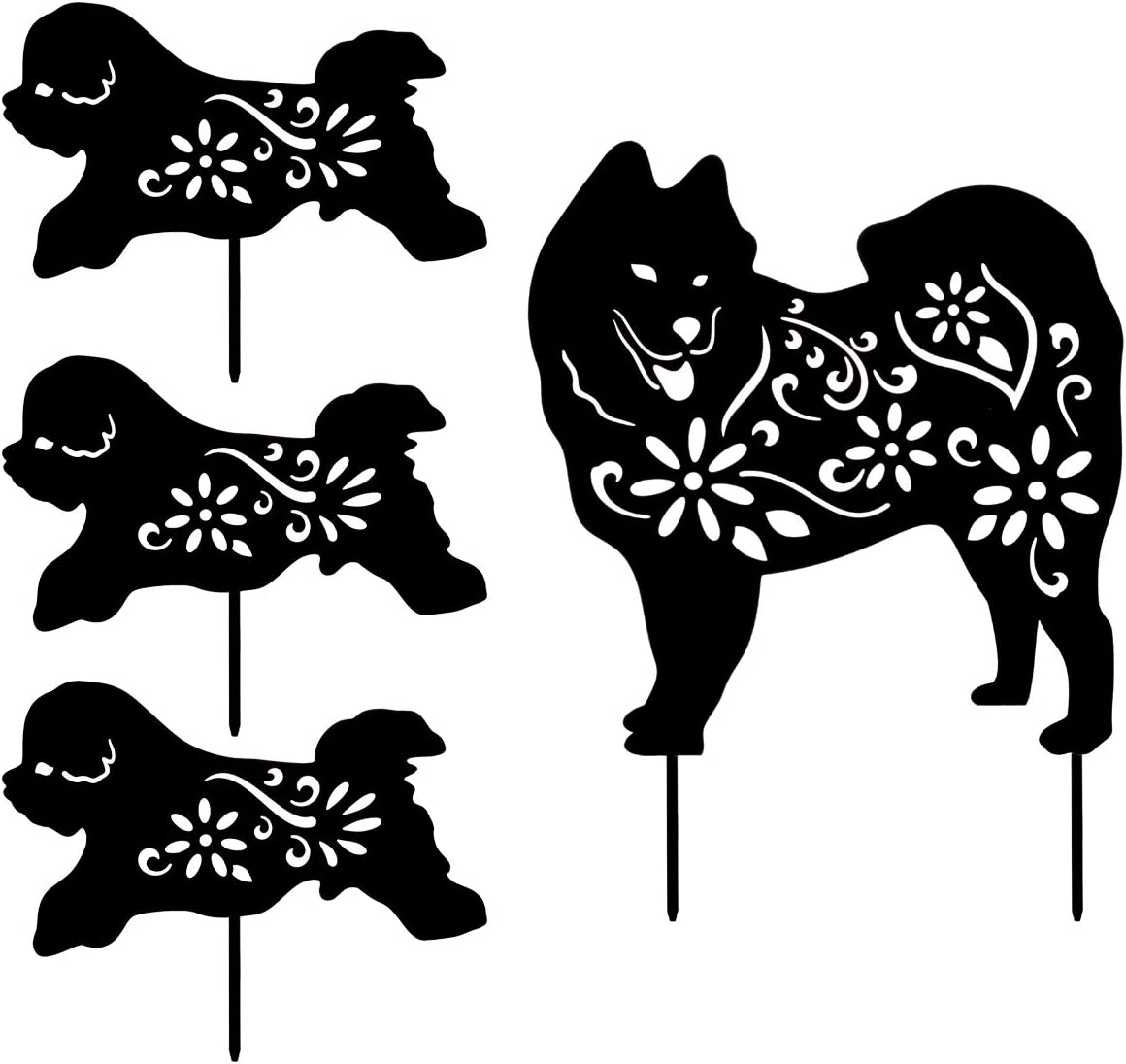 YEAHOME Metal Dog Garden Statues - Dog Decor Silhouette Stake Garden Art, Set of 4, Animal Decorative Garden Stakes Yard Ornaments Outdoors, Gifts for Dog Lovers