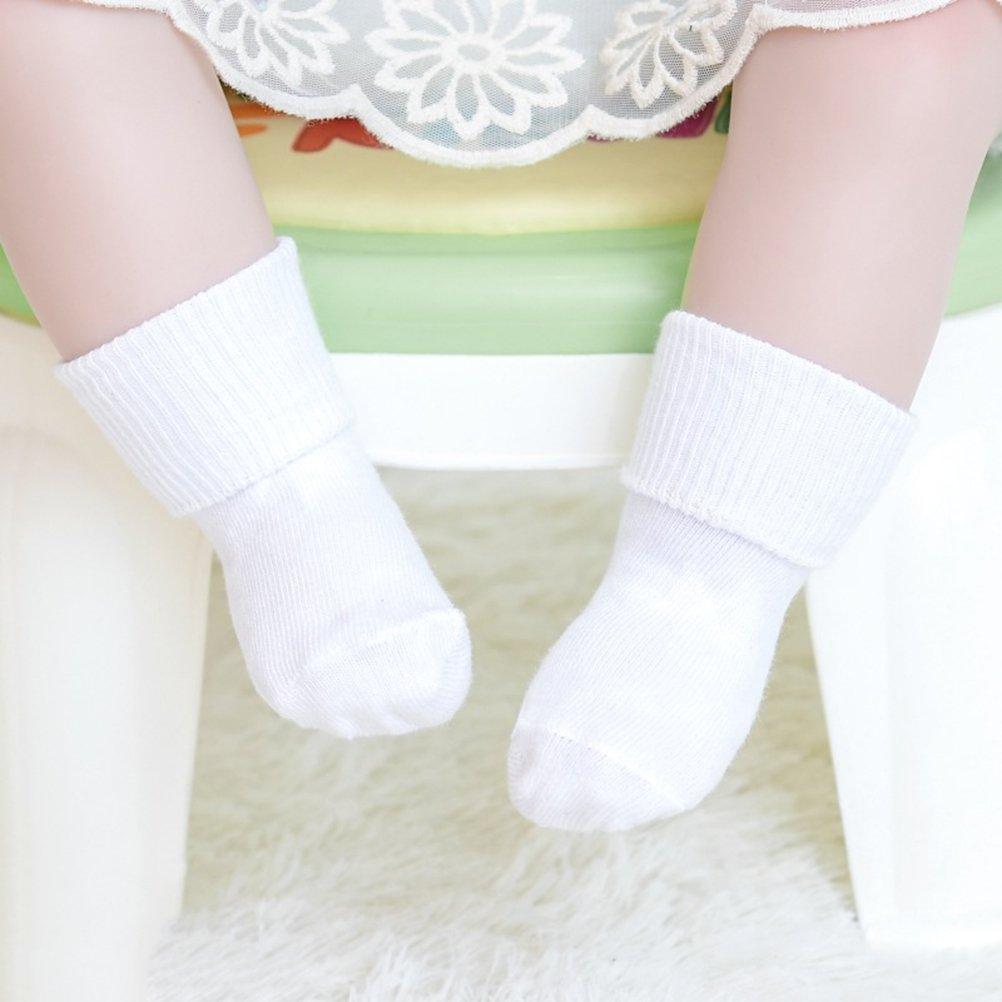 Unisex Non-Slip Turn Cuff Cotton Socks Infant Toddler Socks for Kids 0-1 Years Old White