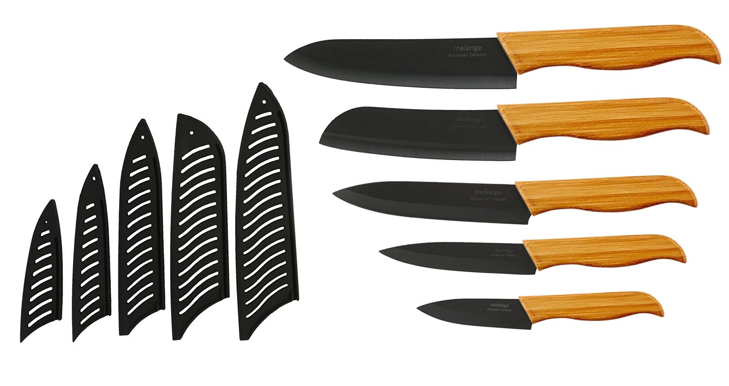 Melange 11-Piece Ceramic Knife Set with Bamboo Handle and Black Blade