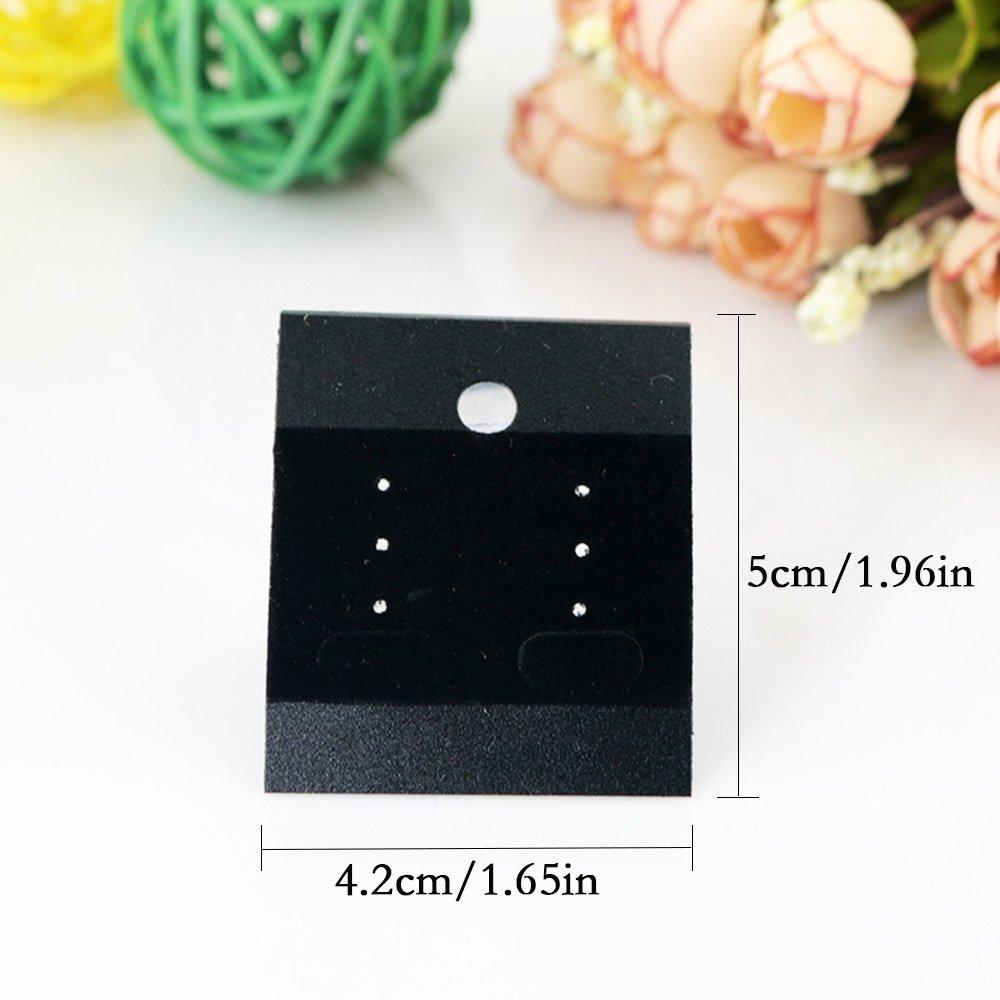 YEJI 100PCS Black Velvet Plastic Display Cards for Earrings Jewelry Accessories Earring Display Hang