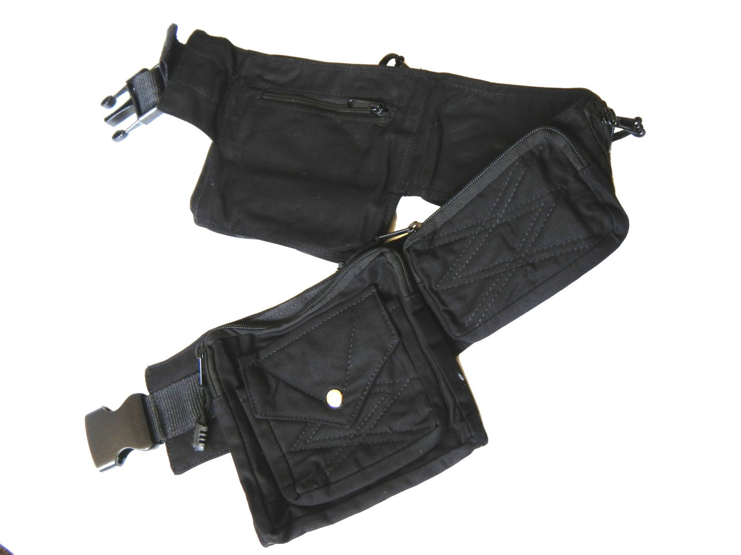 Canvas Utility Belt | Black, 8 pockets | travel, cosplay, festival, cotton, hip bag