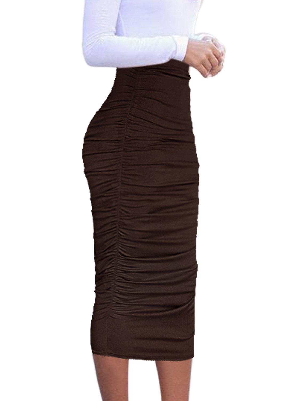 VfEmage Womens Elegant Ruched Frill Ruffle High Waist Pencil Mid Calf Skirt 1877 New DBRW 12