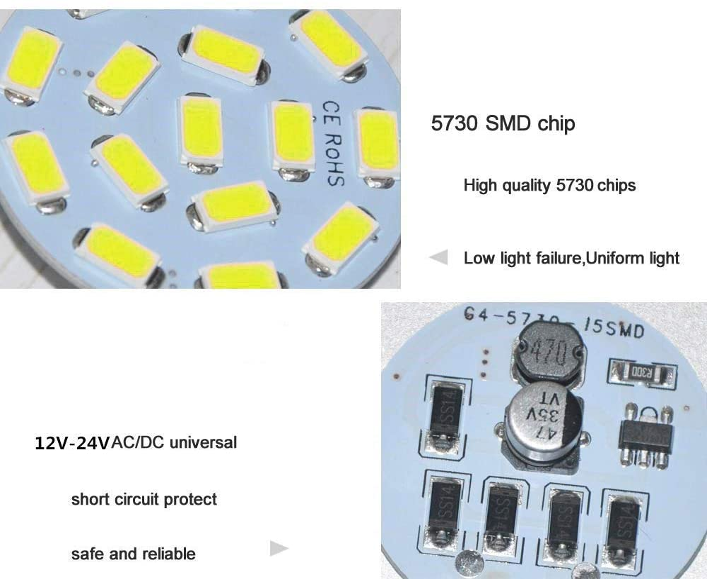 LXcom 2.5W G4 LED Light Bulbs AC//DC 12V G4 Landscape LED Bulb 6 Pack 25W Halogen Bulb Equivalent Daylight White 6000K JC T3 G4 LED Bulb Lamp for Ceiling Recessed Puck