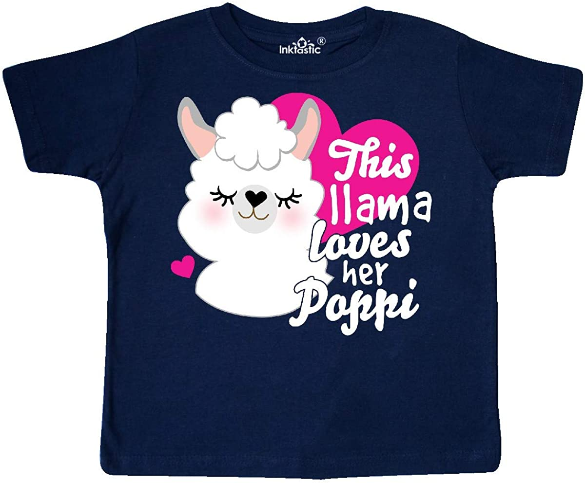 inktastic Valentines Day This Llama Loves Her Poppi Toddler T-Shirt
