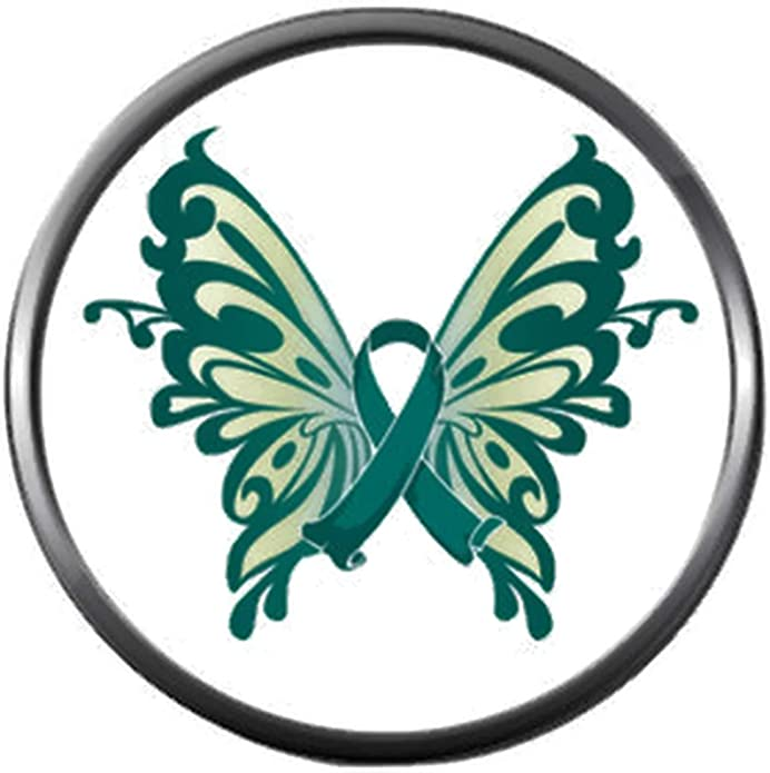 Amazon Com Beautiful Butterfly Ovarian Cancer Teal Ribbon Support Awareness Believe Find Cure 18mm 20mm Snap Jewelry Charm Jewelry
