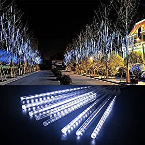 LED Meteor Shower Rain Lights, Ashine Falling Rain Drop Christmas Lights with 30cm 8 Tube 144 LEDs, Icicle Snow Fall String LED Cascading Lights for Wedding, Party & Xmas Decoration (White)