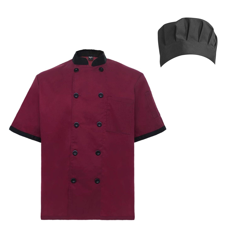 TopTie Unisex Short Sleeve Cooking Chef Coat Jacket with Adjustable Hat CHIX-DK61111