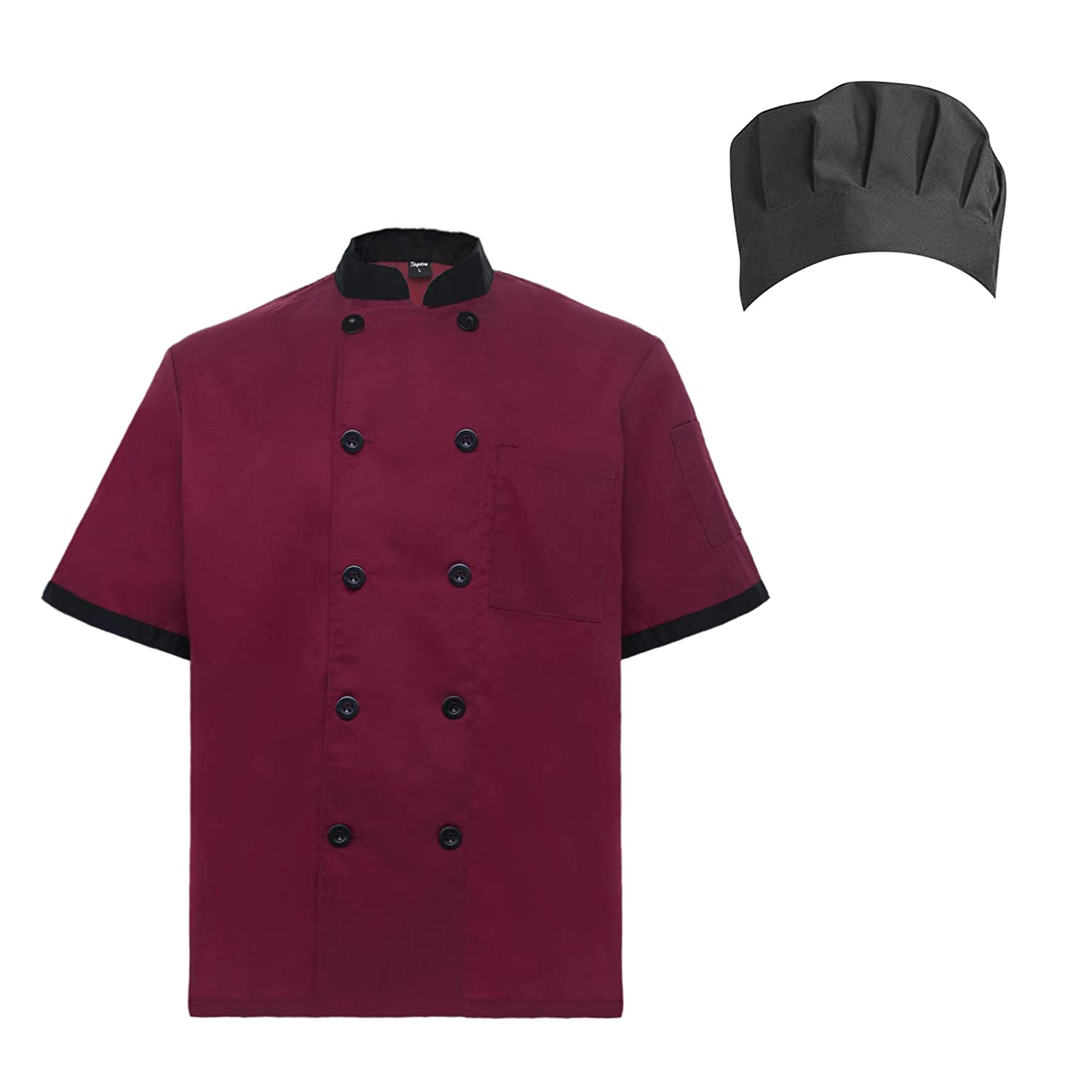 TopTie Unisex Short Sleeve Cooking Chef Coat Jacket with Adjustable Hat CHIX-DK61111