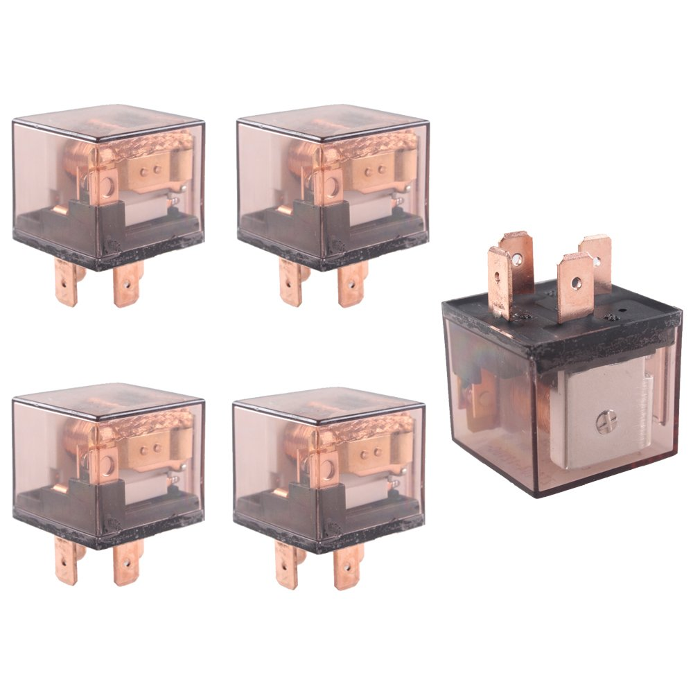 HOUTBY 5Pack Universal 30A 12V 4Pin Car Auto Relay Kit Heavy Duty SPST