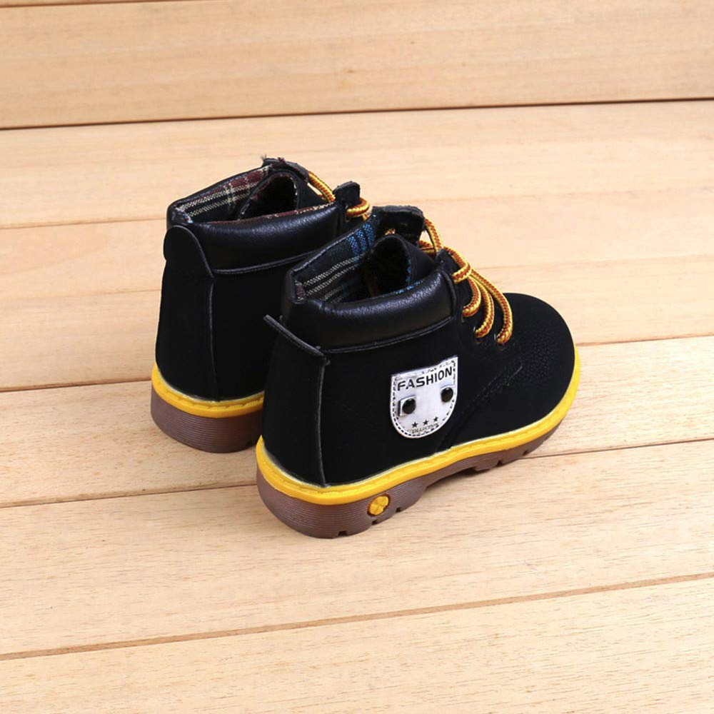Yellow , 3-3.5 Years Fiaya Boys Girls Winter Autumn Warm Fur Lined Martin Boots Leather Lace Up Ankle Snow Boots Fur Lining