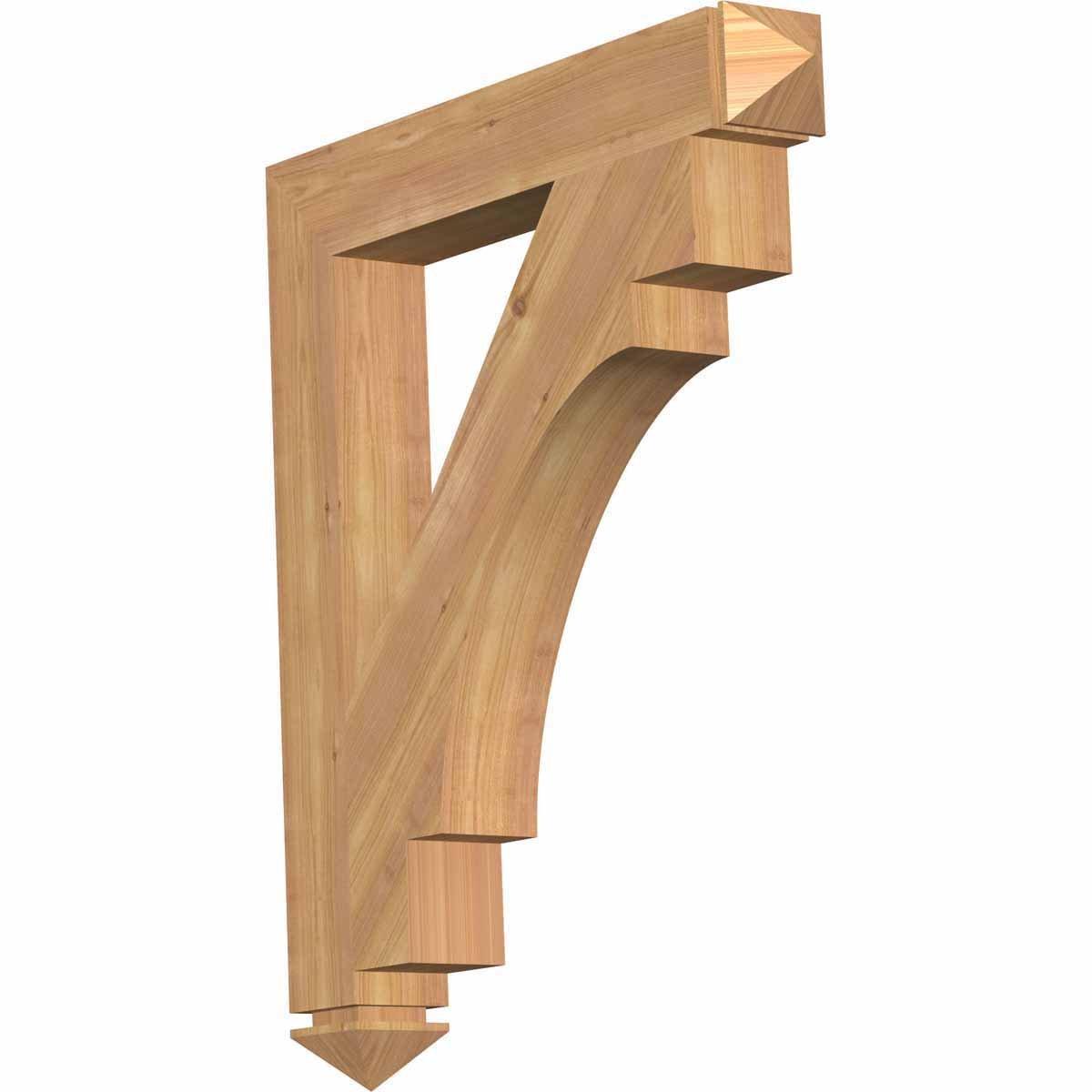 Ekena Millwork BKT04X26X30MRC03SWR Merced Arts & Crafts Smooth Bracket, 3.5'' Width x 26'' Depth x 30'' Height, Western Red Cedar