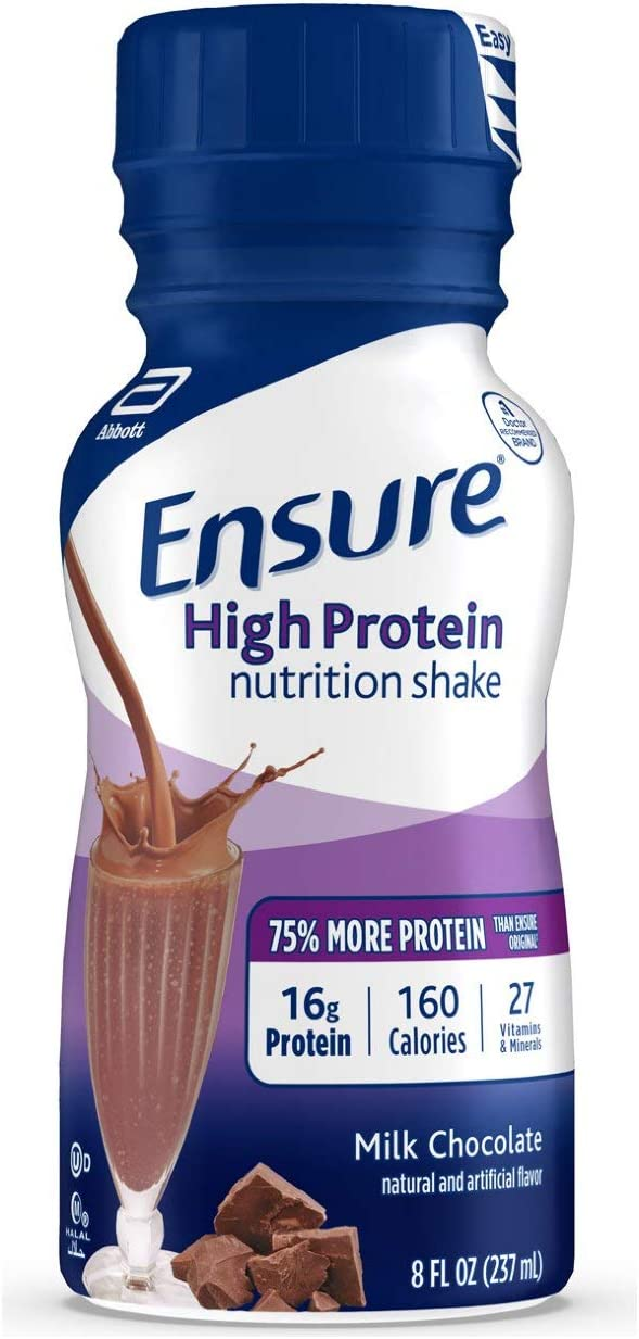 Ensure High Protein Nutritional Shake with 16g of High-Quality Protein, Ready-to-Drink Meal Replacement Shakes, Low Fat, Milk Chocolate, 8 fl oz, 24 Count