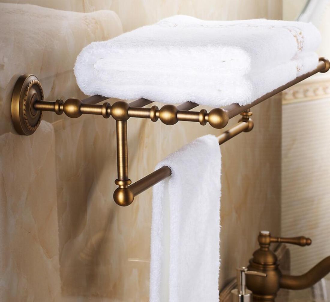 GL&G European retro Towel Holders Gold luxury Wall-Mounted Towel Racks for Bathroom Storage & Organization Shelf Home Decoration 62cm,B by GAOLIGUO (Image #2)