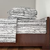Roostery Country Girl 4pc Sheet Set Braided Black And White by Thistleandfox King Sheet Set made with
