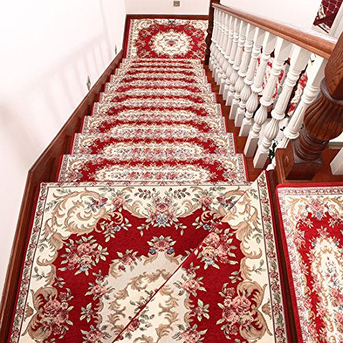 Cuteshower Acrylic Indoor Floral Flowers Carpet Stair Treads Free Tape Non-slip Stair Carpet Decorative Staircase Red Set of 7 (10''x30'') by Cuteshower