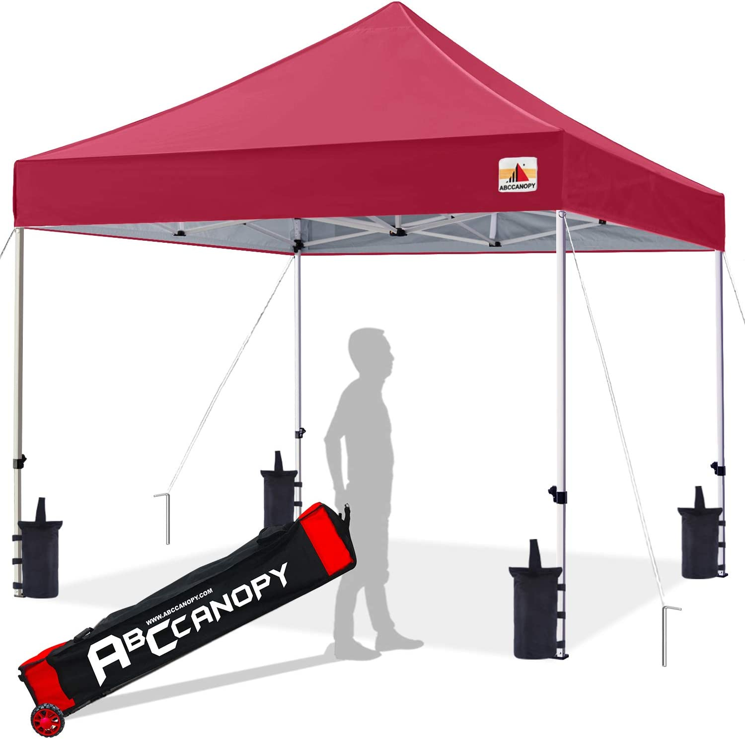 ABCCANOPY 10×10 Canopy Tent Pop up Canopy Outdoor Canopy Commercial Instant Shelter with Wheeled Carry Bag, Bonus 4 Canopy Sand Bags, Burgundy