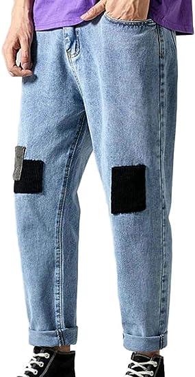 Macondoo メンズ デニム ストレート ワイド レッグ トラウザーズ アンクル フェード ステッチ ング バギー ジーンズ パンツ