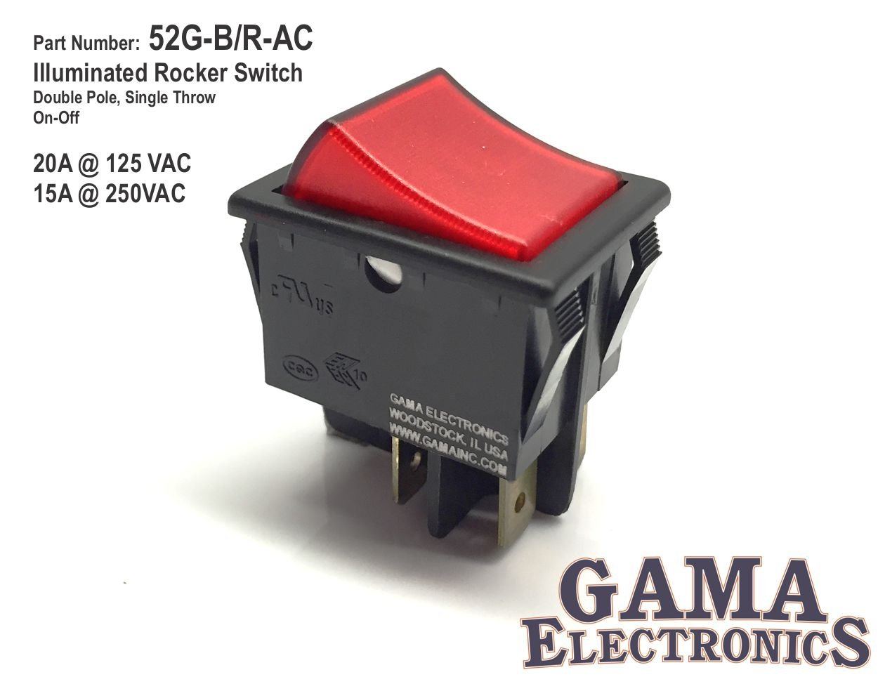 Amazon.com: 20 Amp Double Pole On Off Illuminated Rocker Switch 120/240VAC  DPST: Automotive