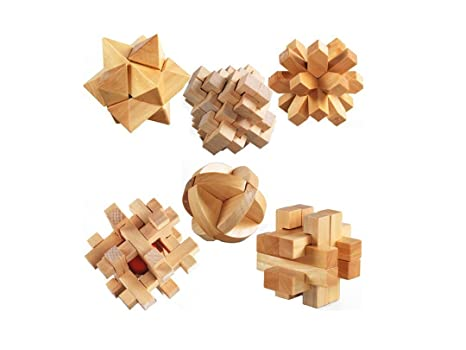 StillCool 3D Jigsaw Puzzles Wooden Classic Cube Genius Puzzle and Brain  Teasers, Set of 6 Old China Kongming Luban Jigsaw Lock Educational Toy Gift