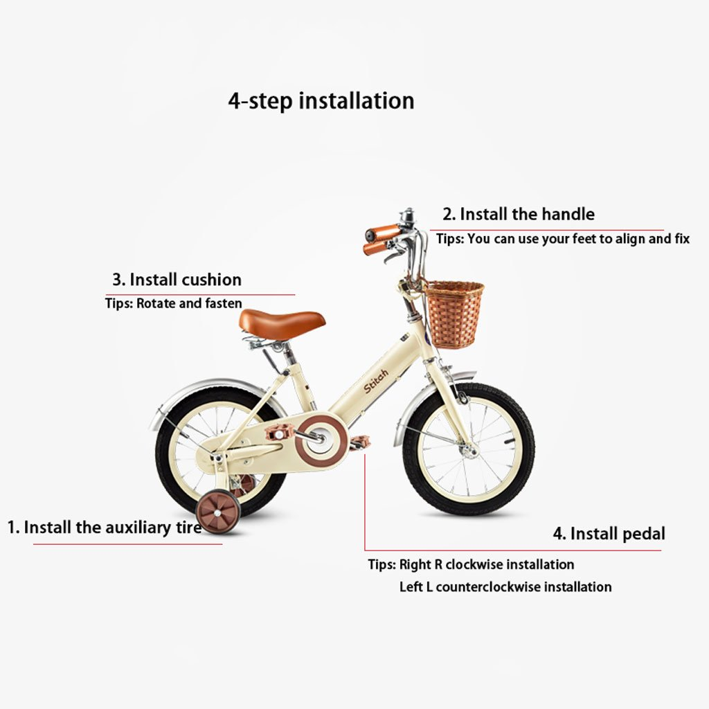 Blanco//Rosa Xiaoping Infantil for Bicicleta 12//14//16//18 Pulgadas Muchacha 2-5//3-6//5-9//8-13 a/ños Carro de beb/é de Acero al Carbono de Alta