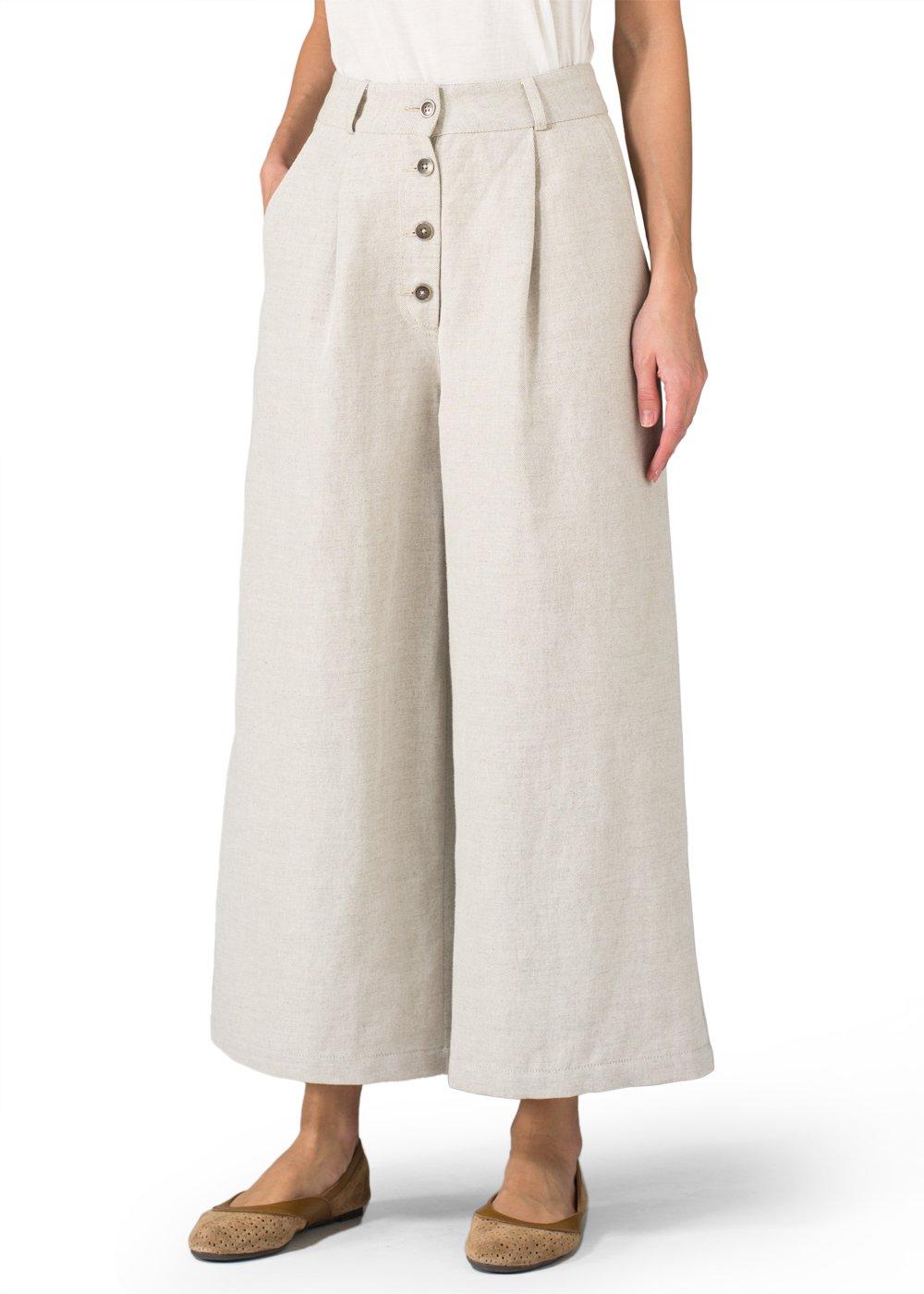 Vivid Linen High Waist Wide Leg Linen/Cotton Pants-16-Two Tone Oat