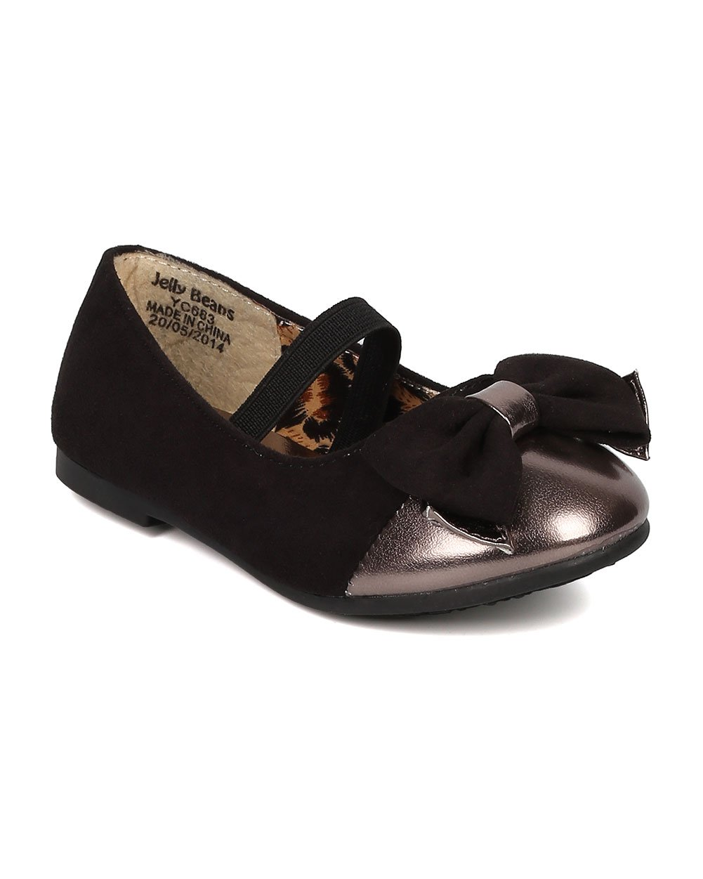 JELLY BEANS Saroya Gold Cap Round Toe Ballet Flat Bow Elastic Mary Jane (Toddler) AC85 - Black Faux Suede (Size: Toddler 4)