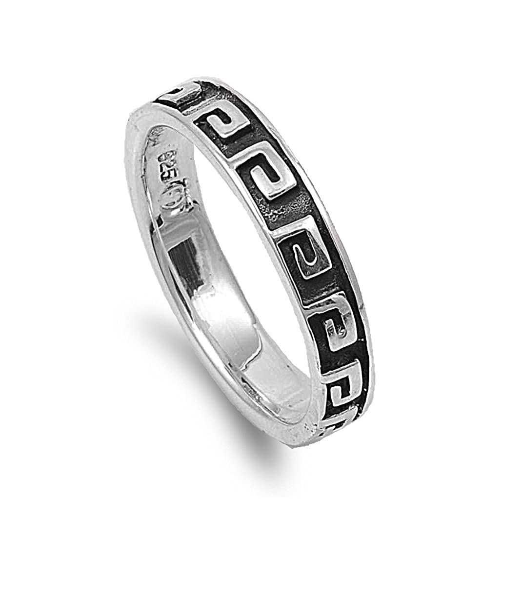 Princess Kylie 925 Sterling Silver Repeating Tribal Symbol Ring