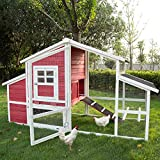 Kinbor Wooden Backyard Chicken Coop Rabbit Hutch Bunny Cage Indoor Outdoor Wood House Pet Cages Small Animals Removable Tray, Run Area & Nesting Box