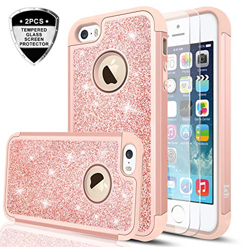 iPhone 5S Case,iPhone 5 /iPhone SE Case with Tempered Glass Screen Protector [2 Pack],LeYi Glitter Bling Girls Women Heavy Duty Protective Case for iPhone 5S/5/SE TP Rose Gold (Pretty 5 Cases Iphone)