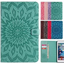 LEMORRY Apple iPad mini 4 Case Leather Flip Wallet Pouch Slim Fit Bumper Protection Magnetic Strap Stand Card-Slot Soft TPU Tablet PC Holster Cover for Apple iPad mini4, Blossom (Green)