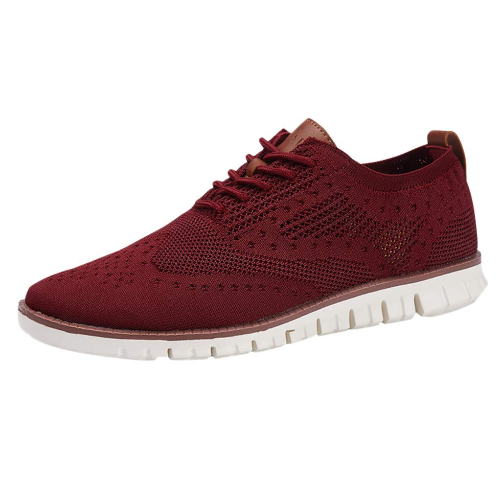 【MOHOLL】 Men's Sport Baseball Shoes -【MOHOLL】 Knitted Fashion Outdoor Sneakers Lightweight Gym Athletic Shoe Trail Workout Red