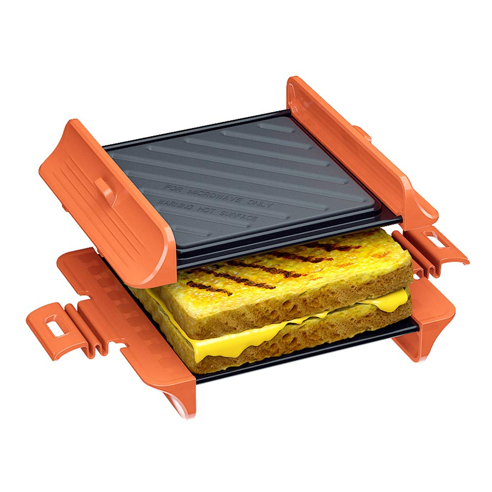 Microwave Sandwich Maker |Panini Press Sandwich Maker | Microwave Grill Tray Crisper | Grill Fast and Dishwasher Safe