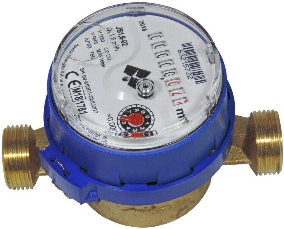 Wasserz/ähler 3//4 Kaltwasserz/ähler Q3 4,0m/³ 30/°C Baul/änge 130mm