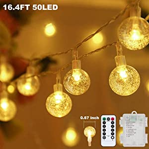 Metaku Globe String Lights Fairy Lights Battery Operated 16.4ft 50LED String Lights with Remote Waterproof Indoor Outdoor Hanging Lights Decorative Christmas Lights for Home Party Patio Garden Wedding