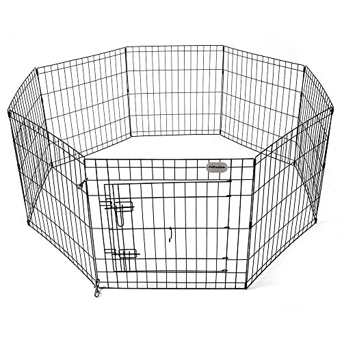 Black Pen Ultimate Exercise (PetPremium Dog Puppy Playpen Pen with Gate | Indoor Outdoor Exercise Play Yard Outside | Small animal Pet Puppies Portable Foldable Fence Enclosures | 8 Panel Metal Wire with Door, Black (24